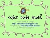 Turtle Color Code Math Worksheet