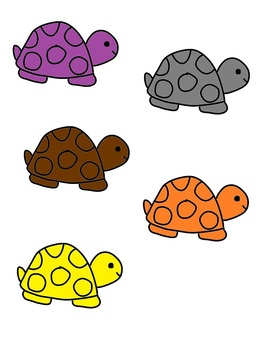 Turtle Color Word Matching File Folder Game