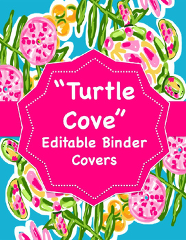 "Lilly Inspired ""Turtle Cove"" Editable Binder Covers"