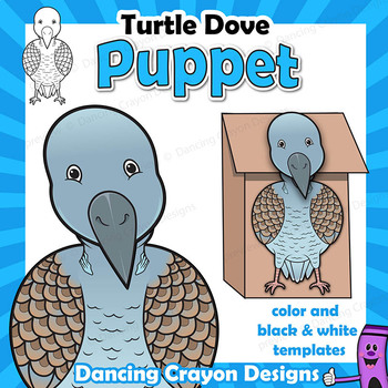 Turtle Dove Craft Activity | Paper Bag Puppet Template | Bird