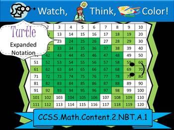 Turtle Expanded Notation - Watch, Think, Color! CCSS.2.NBT.A.1