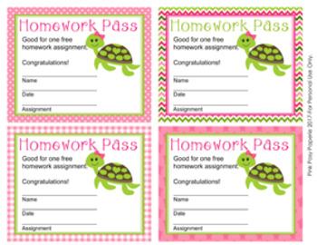 Turtle Girl Homework Passes