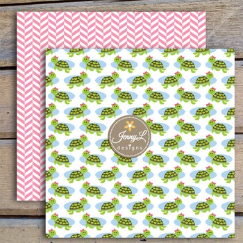 Turtle Girl digital paper and clipart
