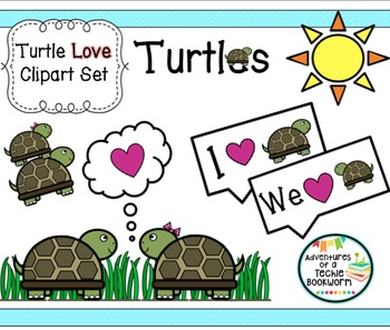 Turtle Love Clipart Set: Personal and Commercial Use