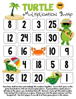 FREEBIE Turtle Multiplication Bump Game