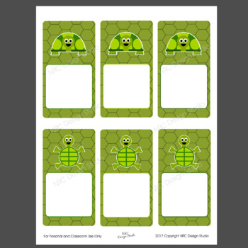 Printable Tags, Turtle, Labels, Name Tags - Classroom Decoration