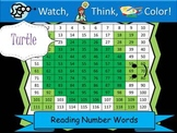 Turtle Reading Number Words - Watch, Think, Color Game!