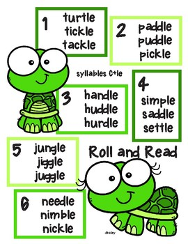 Turtle Roll and Read - Syllables C + le