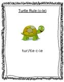 Turtle Rule - c-le consonant le  Worksheets