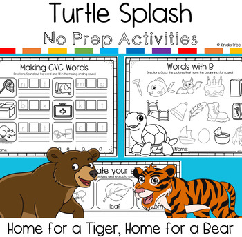 Turtle Splash No Prep Activity Pack (Home for a Tiger, Home for a Bear)