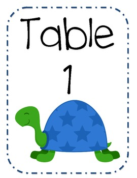 Turtle Table Numbers and Welcome