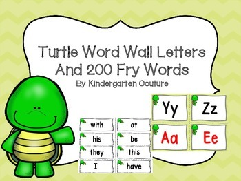 Turtle Word Wall and 200 Fry Words