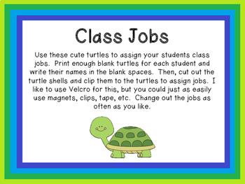 Turtle Classroom Jobs