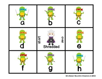 "Letter Naming Fluency with Fluency Checks ""Shredded"" Ninja Turtle Themed"
