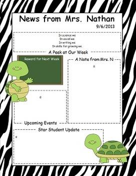 Turtle Themed Newsletter