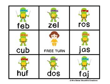 "Nonsense Word Game with Fluency Checks ""Shredded""  Ninja Turtle Themed"