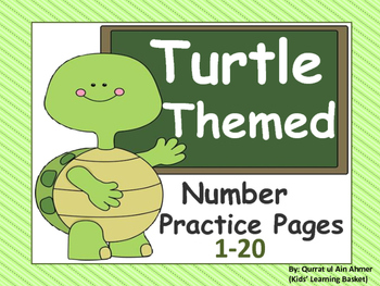 Turtle Themed Number Practice Pages (1- 20):