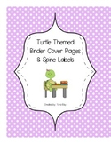 Turtle Themed Teacher Binder Cover Pages and Spine Labels
