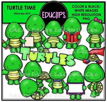 Turtle Time Clip Art Bundle {Educlips Clipart}
