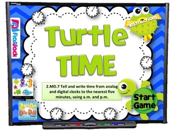 Turtle Time Smart Board Game (CCSS.2.MD.7)