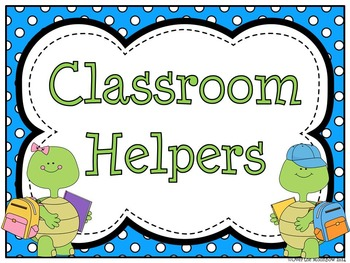Turtle Time Themed Classroom Jobs Display & Clip Chart