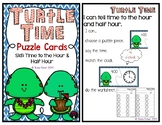 Turtle Time to the Half Hour Math Puzzle Cards Teacher Appreciation Free