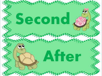 Turtle Transitions: Word Wall Cards & Task Card Activity Packet