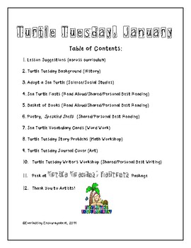 Turtle Tuesday January Activities Packet