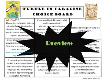 Turtle in Paradise Choice Board Novel Study Menu Book Project Tic Tac Toe
