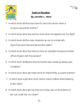 Turtle in Paradise by Jennifer L. Holm, Battle of the Books Questions