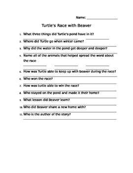 Turtle's Race with Beaver Comprehension Sheet