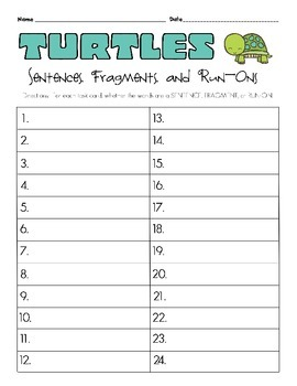 Turtles Sentences, Fragments, Run-Ons Task Cards