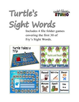 Turtles Sight Words - File Folder Games