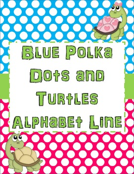 Turtles and Polka Dots Blue Alphabet Line