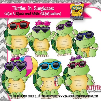 Turtles in Sunglasses Clipart