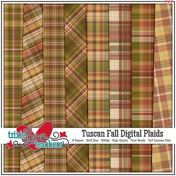 Tuscan Fall Digital Plaid Papers