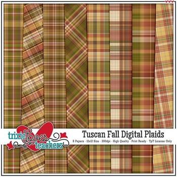 Tuscan Fall Digital Plaid Papers