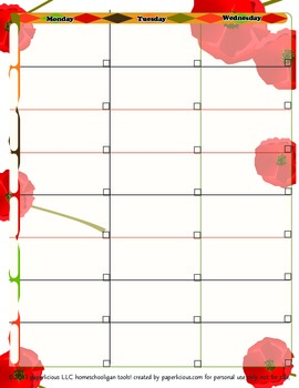 Tuscan Poppy 2 Page Lesson Planner