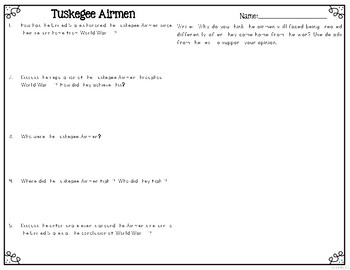 Tuskegee Airmen Reading Passages Leveled Texts