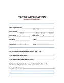 Tutor Application for Employment