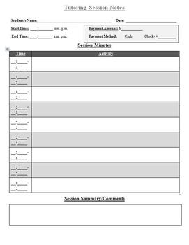 Tutor Session Notes Page