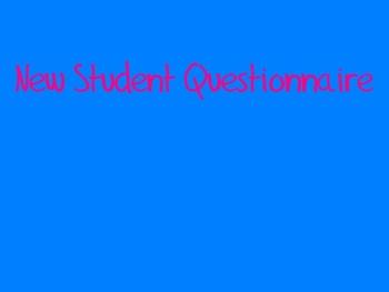 Tutor/New Student Survey