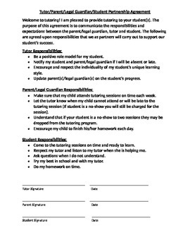 Tutor/Parent/Legal Guardian/Student Partnership Agreement