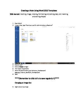 Tutorial: Create a Thank You Note with Microsoft 2013