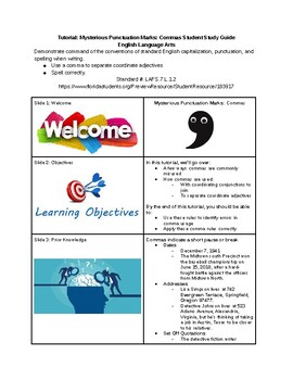 Tutorial - Mysterious Punctuation Marks - Commas - Study Guide & Answer Key