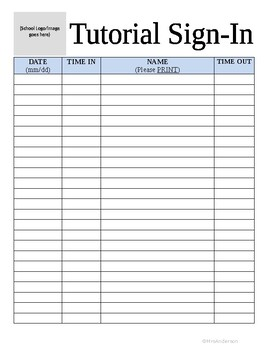 Tutorial Sign-In Sheet