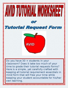 Tutorial request worksheet for your AVID class