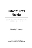 Tutorin' Tim's Phonics: Lessons for Reading and Spelling