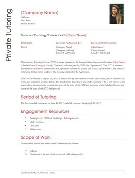Tutoring Contract Teaching Resources Teachers Pay Teachers - Tutoring contract template