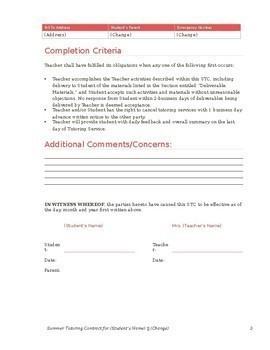 Tutoring Contract (Editable) free